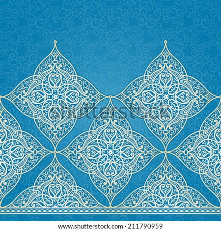 Vector seamless border in Eastern style Ornate element for design and place for text Ornamental lace pattern for wedding invitations and greeting cards Traditional light decor on blue background