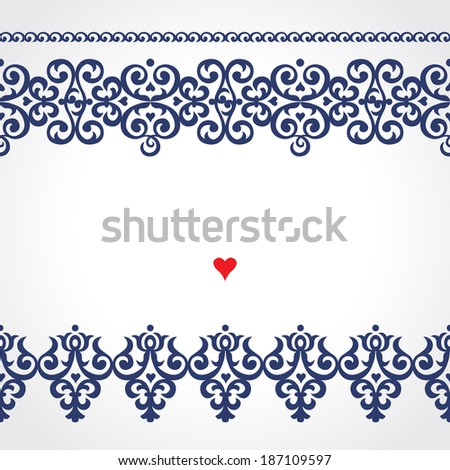 Vector seamless border in Victorian style Ornate element for design Place for text Contrast ornamental pattern for wedding invitations and greeting cards Traditional floral decor