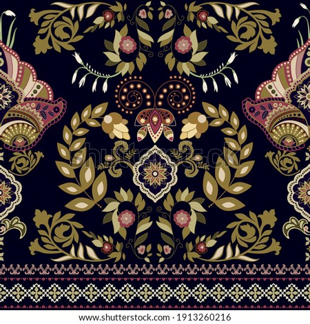 Vector seamless border ornament. Indian ethnic hpattern. Black background with decorative folk ornament. Seamless indian wallpaper. Vector folk black pattern. Arabian ornamental pattern