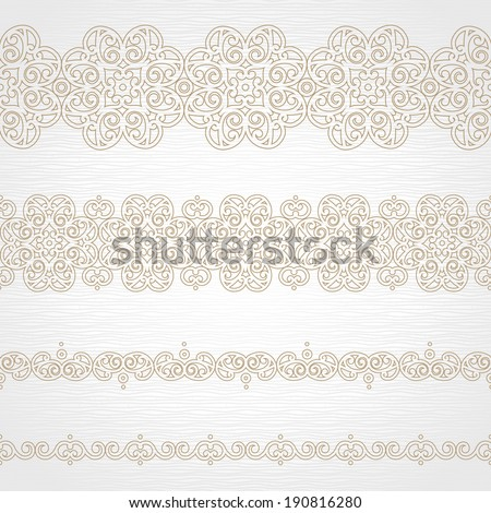 Vector seamless borders in east style Element for design and ornamental decor Light lacy background Ornate floral decor and pattern for wedding invitations and greeting cards