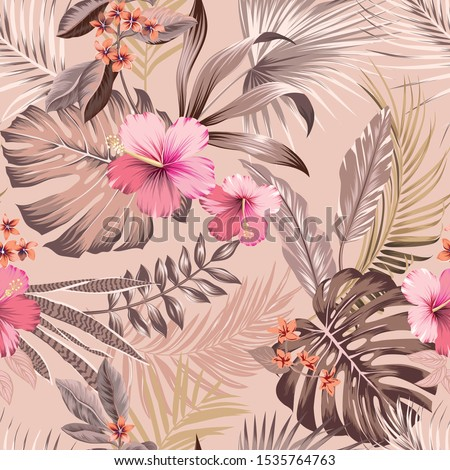 vector seamless botanical tropical pattern with flowers and leaves. Lush foliage with hibiscus, frangipani, monstera leaf, split leaf, areca palm leaves, fan palm. Exotic design in delicate colors.