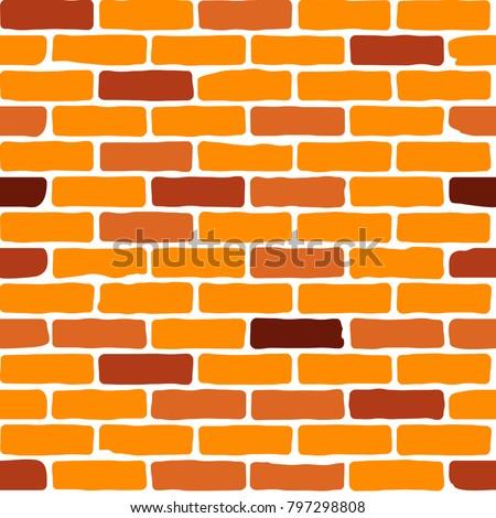 Vector seamless brick pattern. Brick wall background.