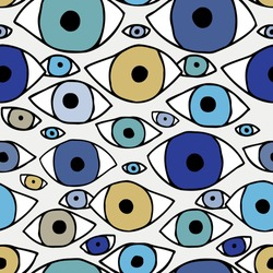 Vector seamless cartoon pattern of hand-drawn lined eyes on white background. Colorful design. The design is perfect for fashion textiles, surreal backgrounds, packaging, surface, sheets.