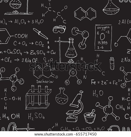 Vector seamless chemistry pattern. Chalk chemistry symbols on black blackboard.
