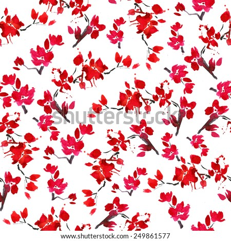 vector seamless cherry blossoms