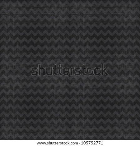 Vector Seamless chevron pattern on black linen canvas background. Zigzag