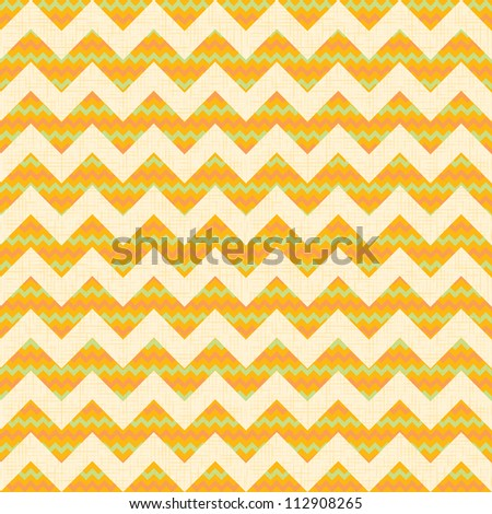 Vector Seamless chevron pattern on yellow linen canvas background. Vintage zigzag