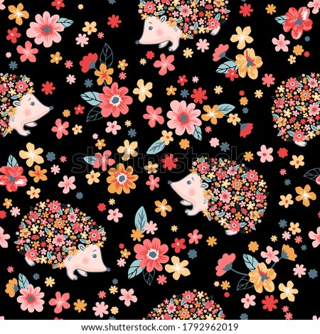 Vector seamless childish floral pattern with flowers and cute hedgehogs on black background