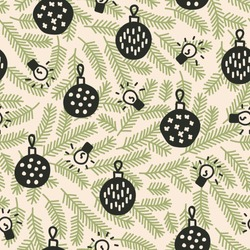 Vector seamless christmas pattern in green and beige. Simple doodle tree branch and  bauble and christmas lights made into repeat. Great for background, wallpaper, wrapping paper, packaging.