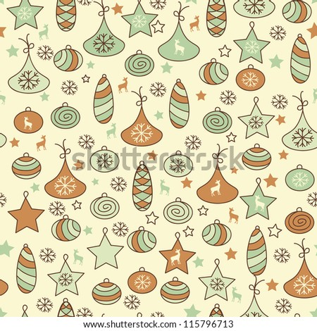 vector seamless Christmas pattern with fir tree toys,  fully editable eps 8 file with clipping mask and pattern in swatch menu