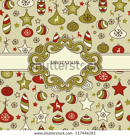 vector seamless Christmas pattern with fir tree toys with Frame for your text,  fully editable eps 8 file with clipping mask and pattern in swatch menu
