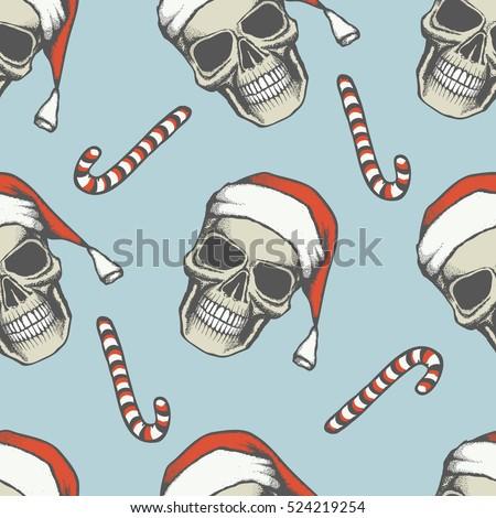 vector seamless christmas skull