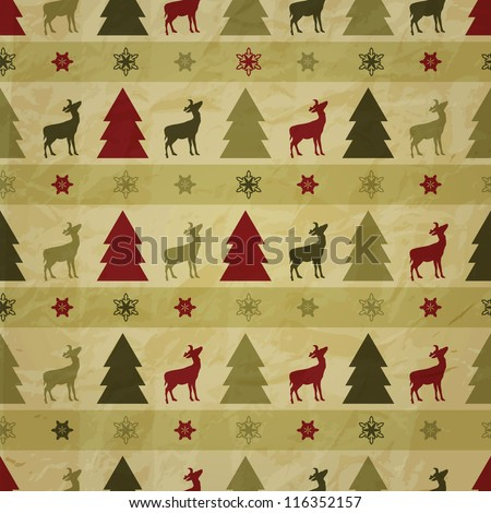 vector seamless christmas winter pattern with fir trees, deers, and snowflakes on crumpled paper texture, eps 10 transparency effects, seamless pattern without transparency in swatch menu