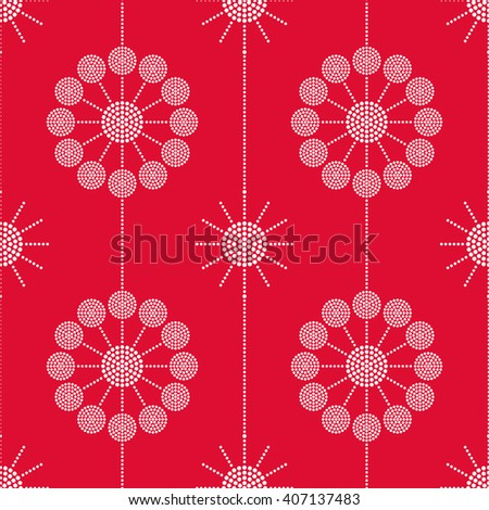 Vector Seamless Circle Pattern. Dotted pattern. Garlands of circles. Abstract monochrome Red background. Christmas pattern. Beads. Dots. Mosaic for textile, paper or ceramics. Vector Regular Texture #407137483