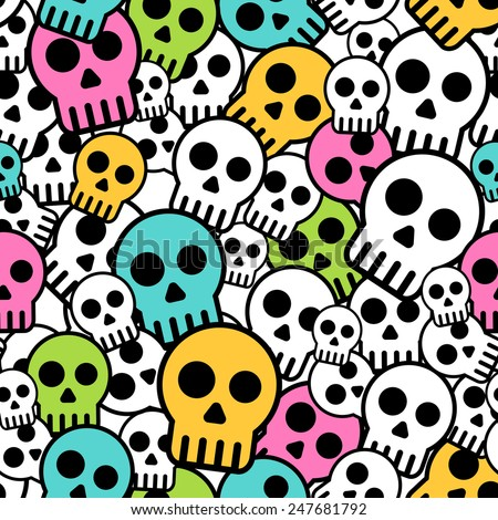 Vector Seamless color skull background. Horror pattern