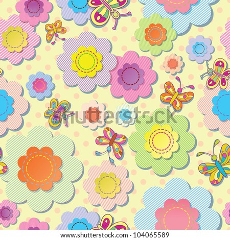 vector seamless colorful background. Application of flowers and butterflies. Sewing thread.