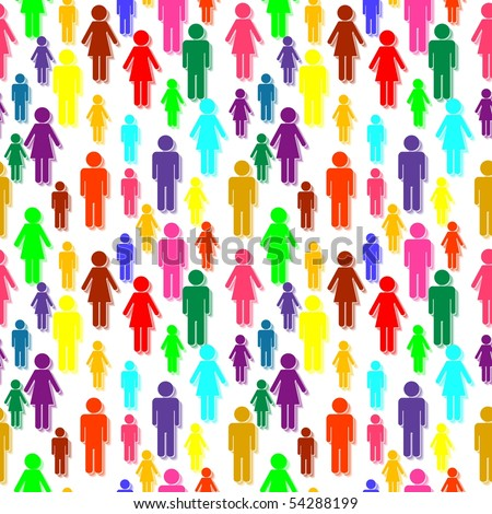 Vector seamless colorful people silhouettes
