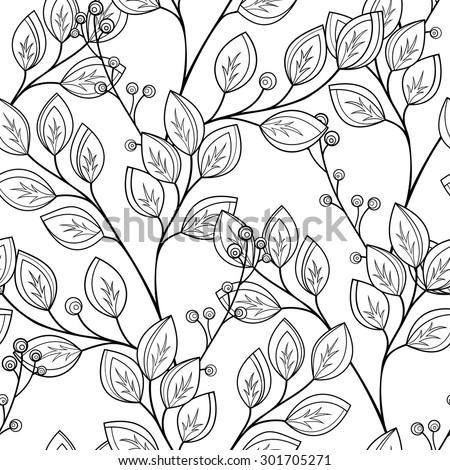 vector seamless contour floral