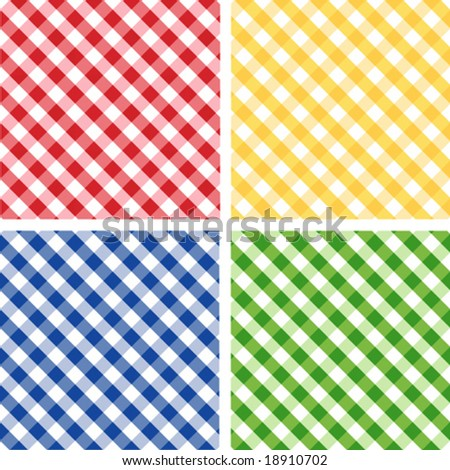 vector - Seamless Cross weave Gingham Pattern Tiles: red, yellow, green, blue. EPS8 includes 4 pattern swatches (tiles) that will seamlessly fill any shape.