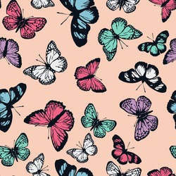 vector seamless cute graphical flying butterflies pattern. spring, summer. colorful tropical beauties.
