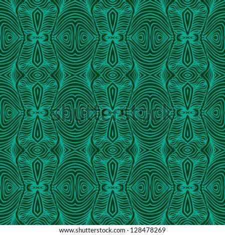 vector seamless detailed, ornamented and decorative pattern with psychedelic shapes and delicate lines in emerald green color like malachite texture, wallpaper, textile, fabric, website background