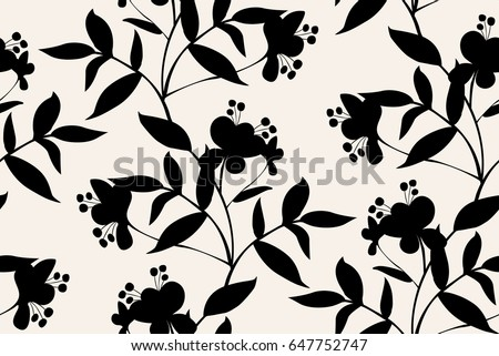 Vector seamless dry floral pattern. with leaves vertical branches.