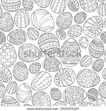 Vector seamless easter pattern in doodle style. Hand drawn holiday background - ornamental design.