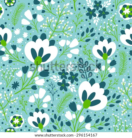 Leaf pattern background retro botanical style stylish flowers print - Vector Images Illustrations And Cliparts Vector Seamless