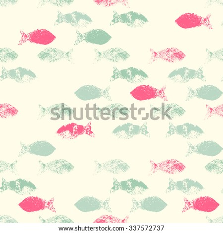 Vector Seamless Fish Pattern (Grunge Ink Stamp). Pastel ...