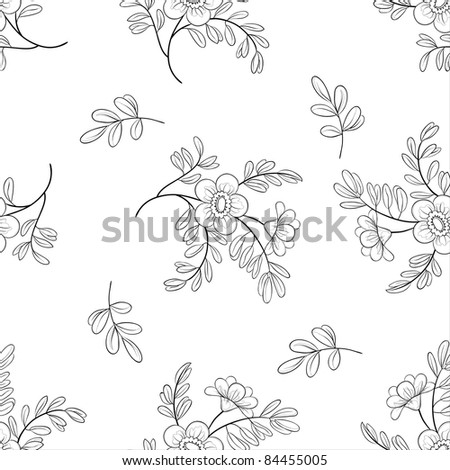 Vector seamless floral background, symbolical flowers and leafs, contours