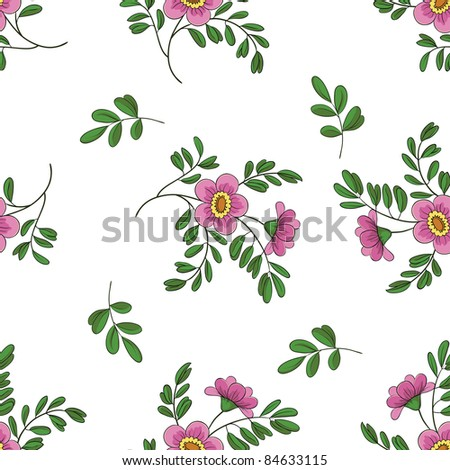 Vector seamless floral background, symbolical flowers and leafs on white