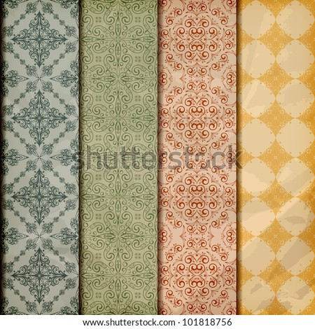 vector seamless floral borders on  crumpled golden foil  paper texture, scrpabook paper