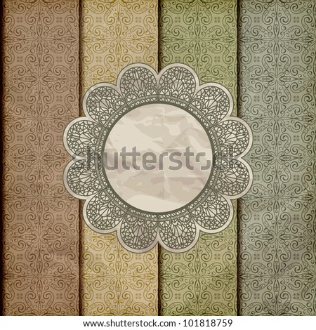 vector seamless floral borders on  crumpled golden foil  paper texture with lacy napkin, gradient mesh, eps 10