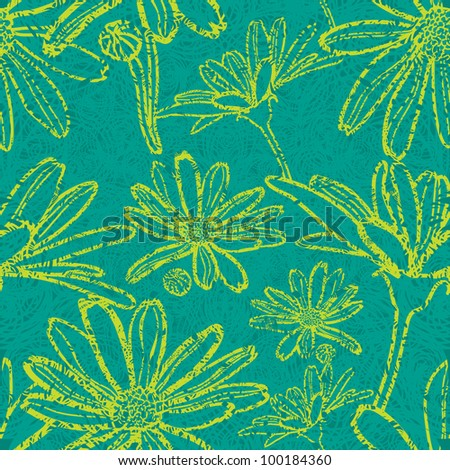 Vector seamless floral grunge pattern with flowers - chamomile