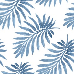 Vector seamless floral pattern from blue palm leaf silhouette with watercolor painted texture on a light grey background. Shabby chic wallpaper, wrapping paper, tropical textile print