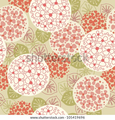 Vector seamless floral pattern. Vintage background with flowers and leaves. Stylized blooming garden. Abstract ornamental illustration for wallpaper, textile, cover, paper.