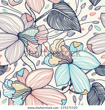 vector seamless floral pattern with fantasy blooming flowers
