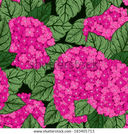 Vector seamless floral pattern with flowers hydrangeas. Bright background. Seamless pattern can be used for wallpapers, fabric, pattern fills, web page backgrounds, surface textures.