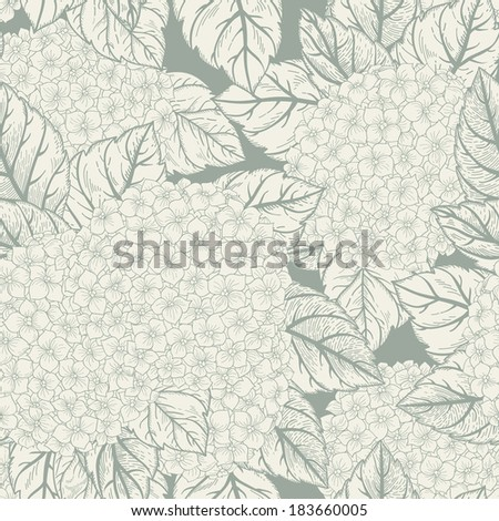 Vector seamless floral pattern with flowers hydrangeas. Monochrome linear background. Seamless pattern can be used for wallpapers, fabric, pattern fills, web page backgrounds, surface textures.
