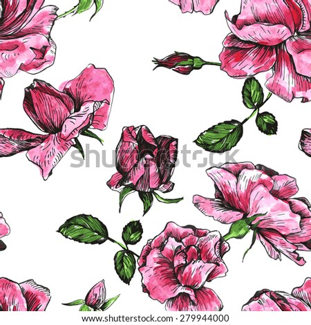 vector seamless floral pattern with flowers of pink roses, drawn by watercolor, pink roses flowers, buds and leaves, hand drawn vector background