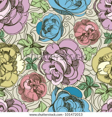 Vector seamless floral pattern with freehand sketch of roses
