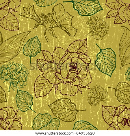 "Vector seamless floral pattern with herbarium (from my big ""Floral collection"")"