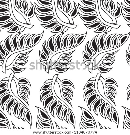 Vector seamless floral pattern with leafs. Autumn background