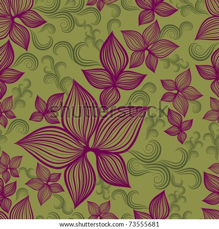 "Vector Seamless floral pattern with lilly flower  (From my big ""Seamless collection"")"
