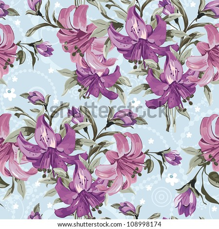 Vector seamless floral pattern with retro flowers. Wallpaper with lily on blue background, vector illustration