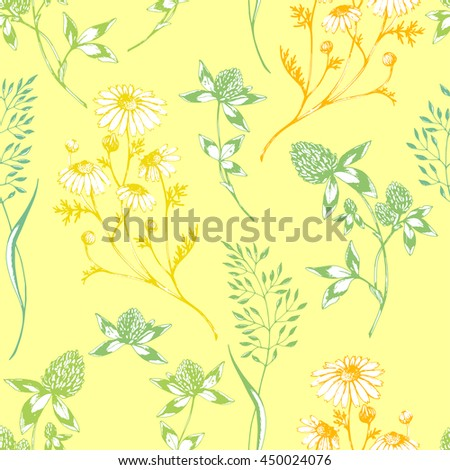 Vector Seamless Floral Pattern With Wild Herbs And Flowers On Yellow