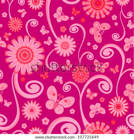 Vector seamless - flower curl pattern with butterfly - stock vector