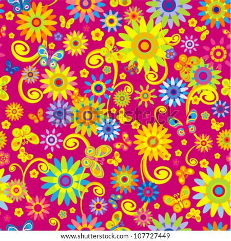 Vector seamless - flower curl pattern with butterfly