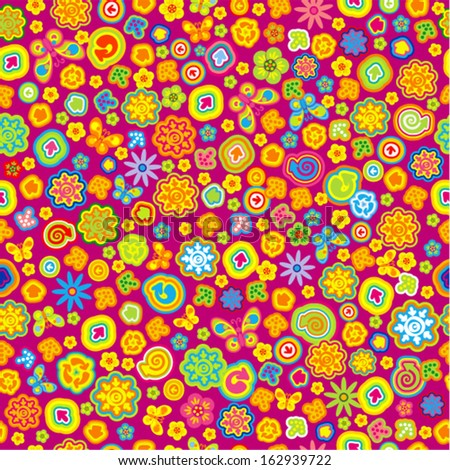 Vector seamless - flower pattern with arrows