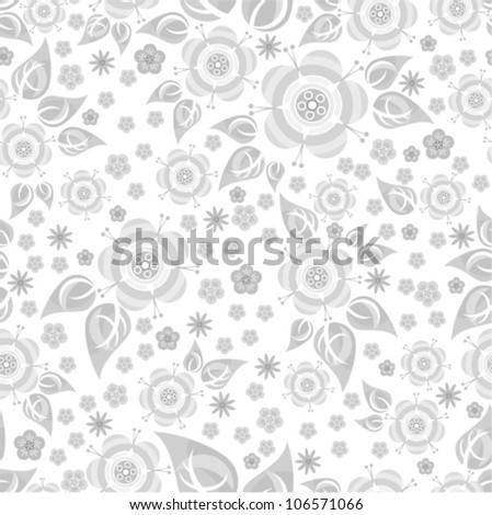 Vector seamless - flower silver pattern (blossom)